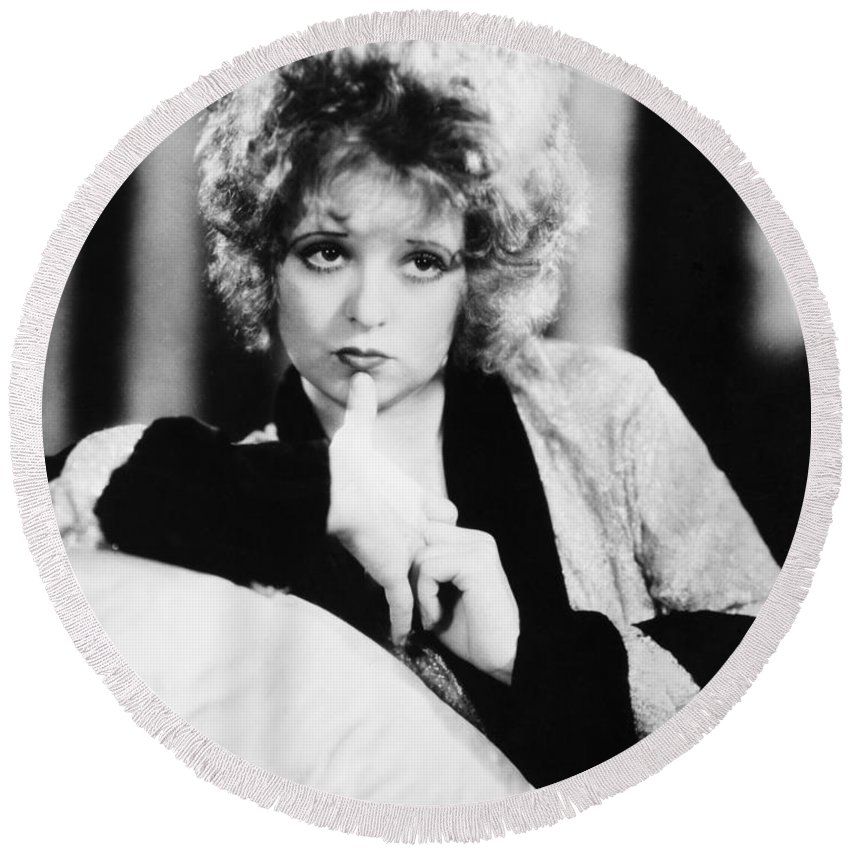 1930s Round Beach Towel featuring the photograph Clara Bow (1905-1965) by Granger