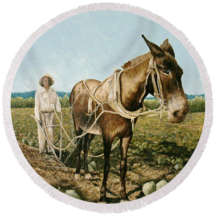 Mule Paintings Round Beach Towel featuring the painting Clay Collins And Old Jake by Mary Ann King