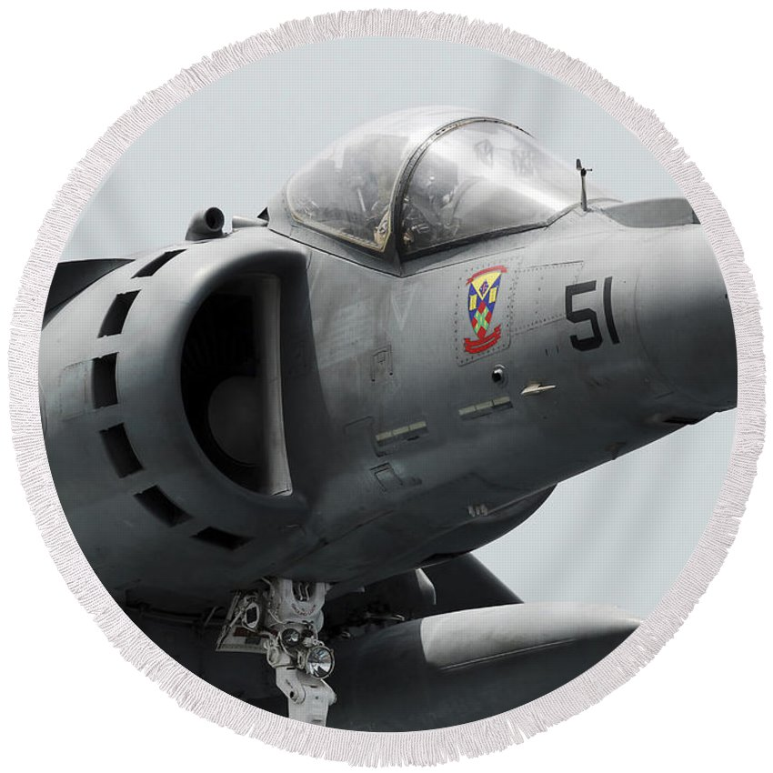 Jet Round Beach Towel featuring the photograph Close-up View Of An Av-8b Harrier II by Stocktrek Images