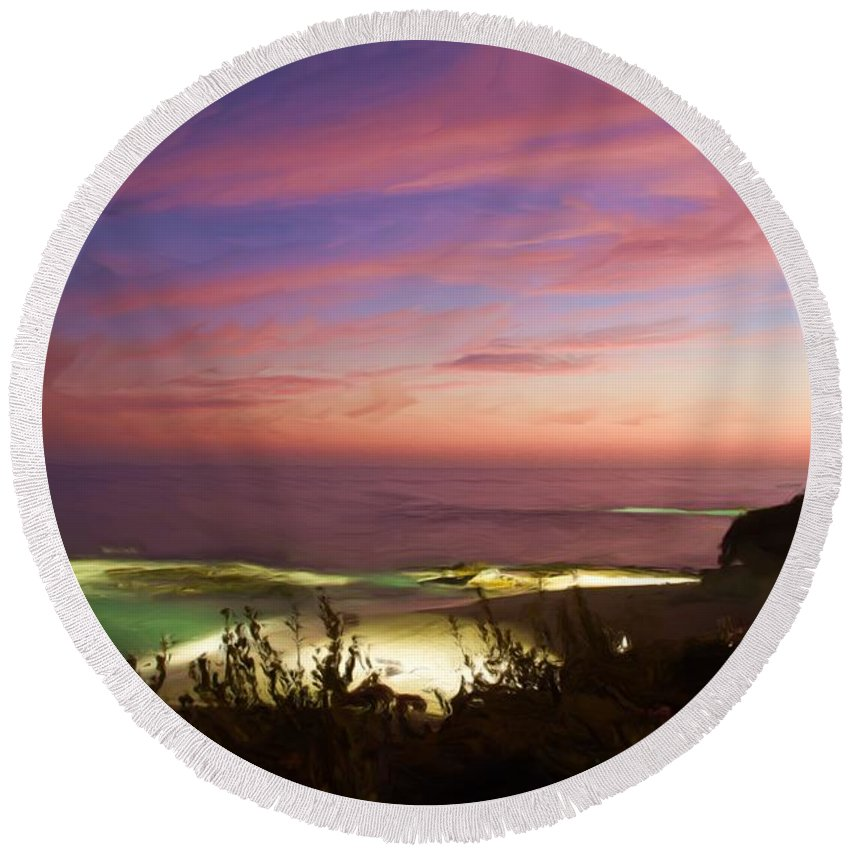 California Round Beach Towel featuring the photograph Coastal Sunset by Heidi Smith