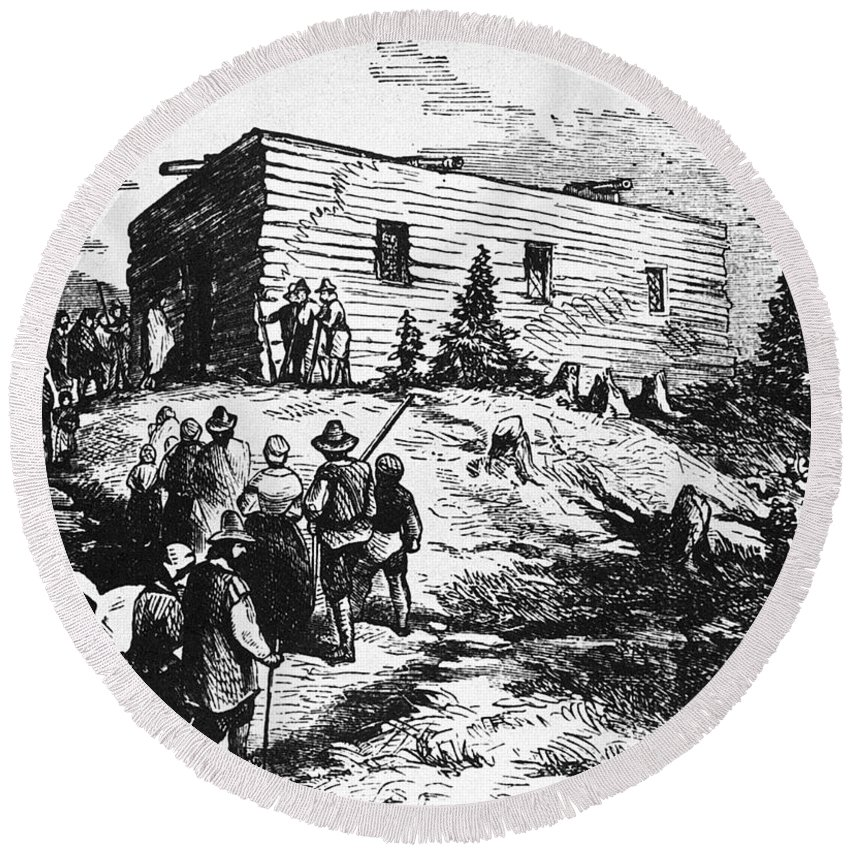 17th Century Round Beach Towel featuring the photograph Colonial Meeting House by Granger