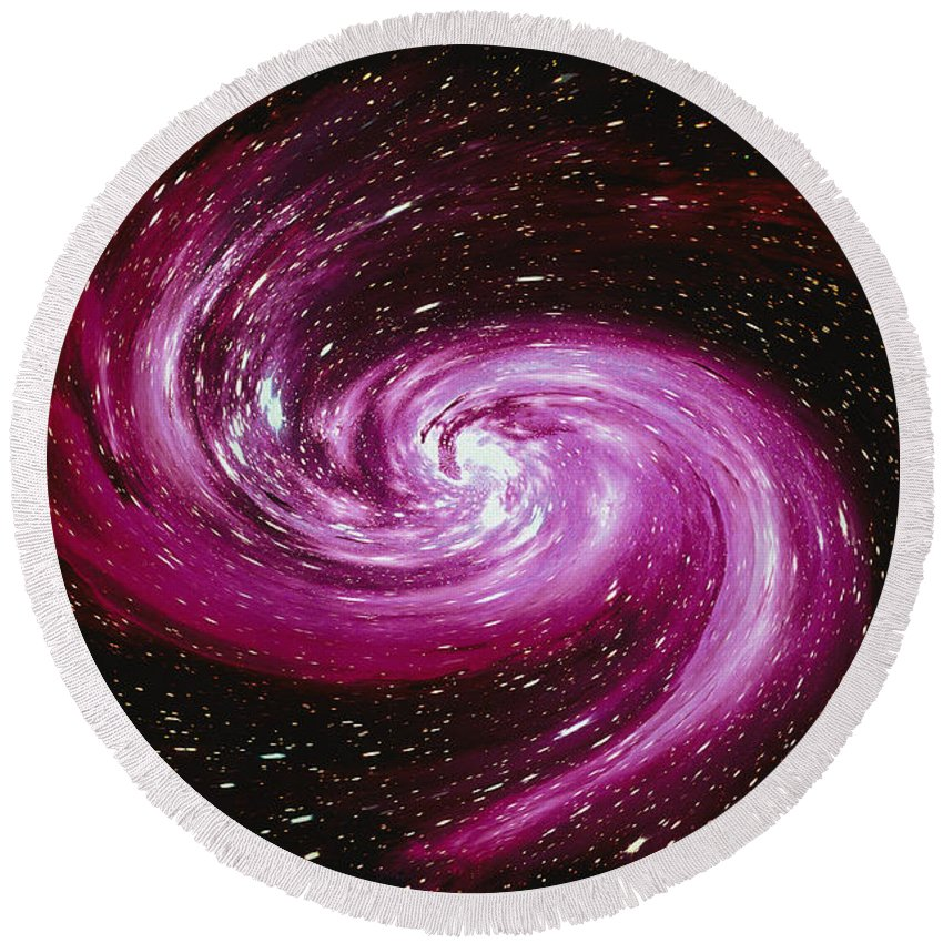 Color Image Round Beach Towel featuring the digital art Computer Space Image by Stocktrek Images