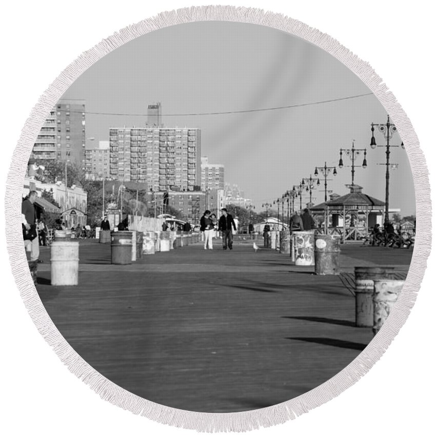 Brooklyn Round Beach Towel featuring the photograph Coney Island Boardwalk In Black And White by Rob Hans