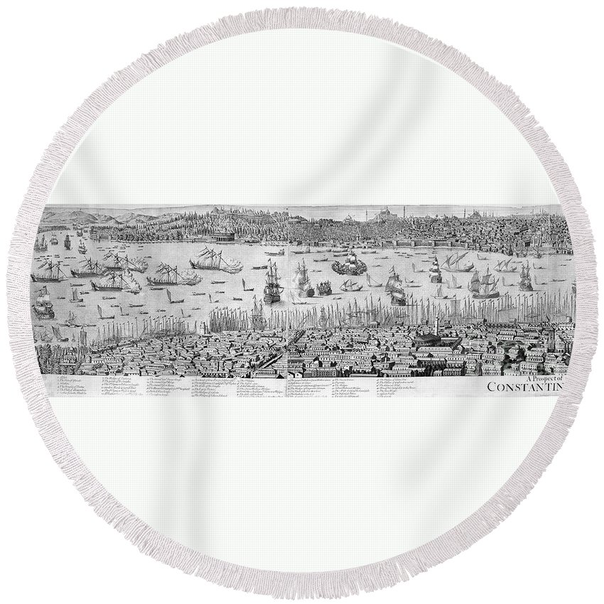 1713 Round Beach Towel featuring the photograph Constantinople, 1713 by Granger