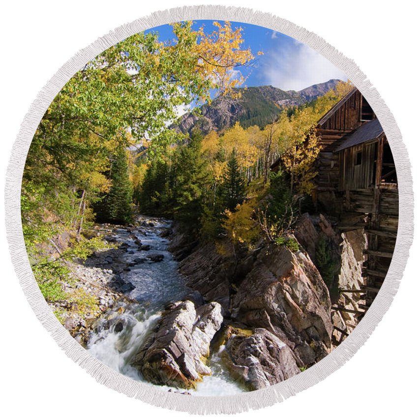 Colorado Round Beach Towel featuring the photograph Crystal Mill by Steve Stuller