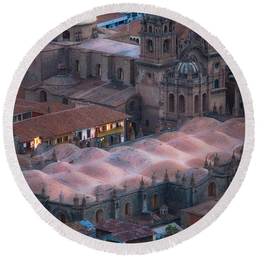 Peru Round Beach Towel featuring the photograph Cusco by Doug Sturgess