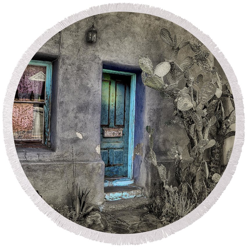 Round Beach Towel featuring the photograph Doorway by Larry White