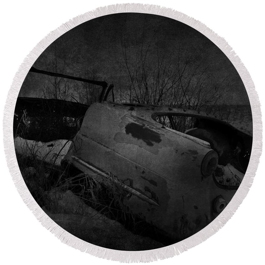 Jerry Cordeiro Photographs Round Beach Towel featuring the photograph Driven On Empty by The Artist Project