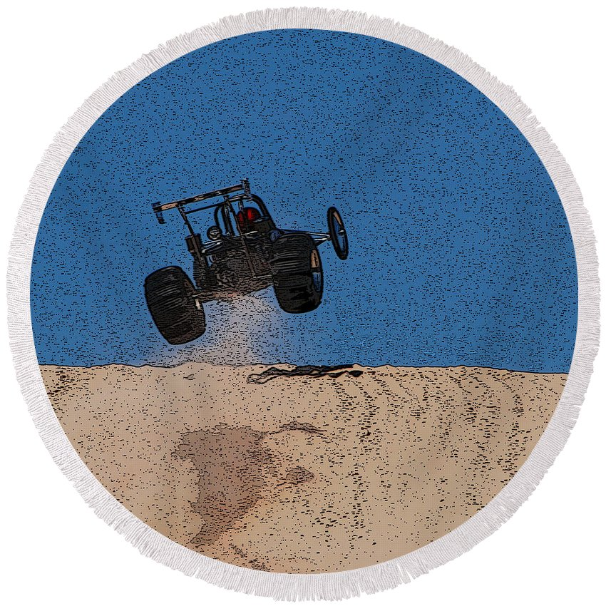 Silver Lake Sand Dunes Round Beach Towel featuring the photograph Dune Buggy Jump by Grace Grogan