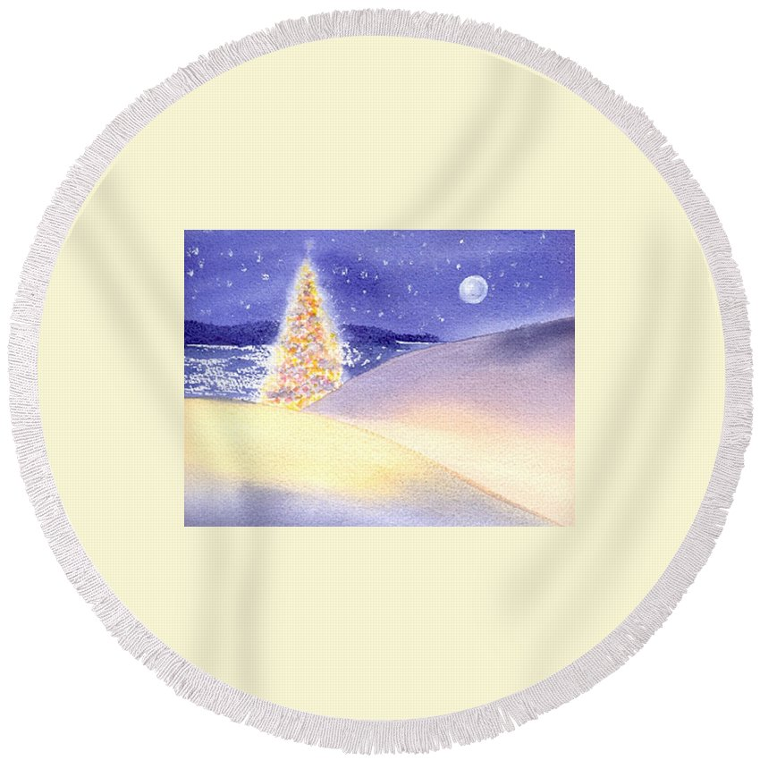 Christmas Round Beach Towel featuring the painting Dune Noel by Joseph Gallant