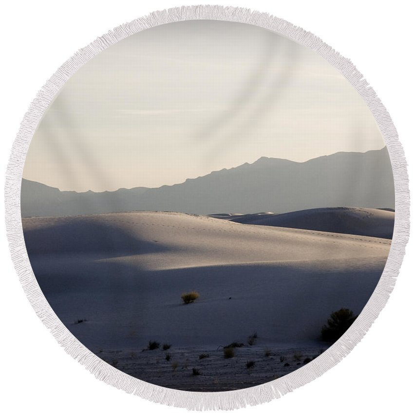 New Mexico Round Beach Towel featuring the photograph Dunes 4 by Sean Wray