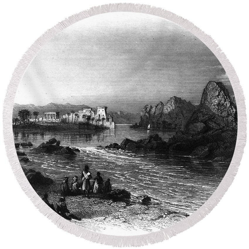 1849 Round Beach Towel featuring the photograph Egypt: Island Of Philae by Granger