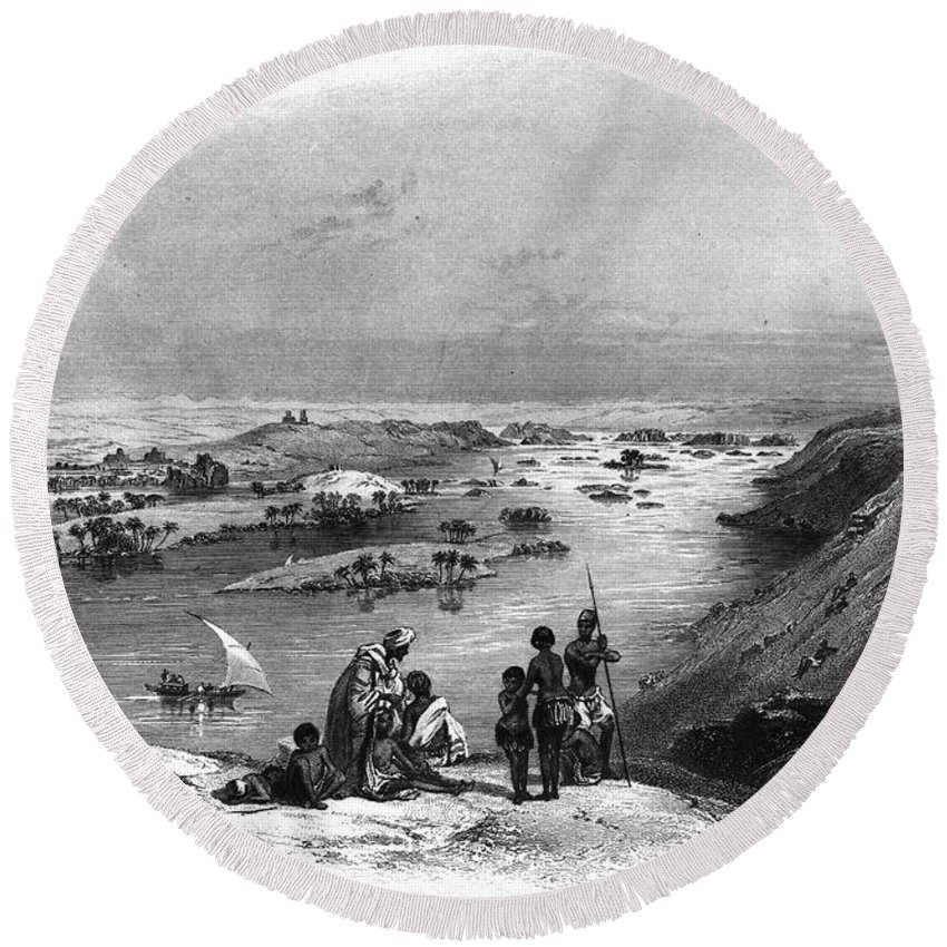 1849 Round Beach Towel featuring the photograph Egypt: Nile Scene by Granger