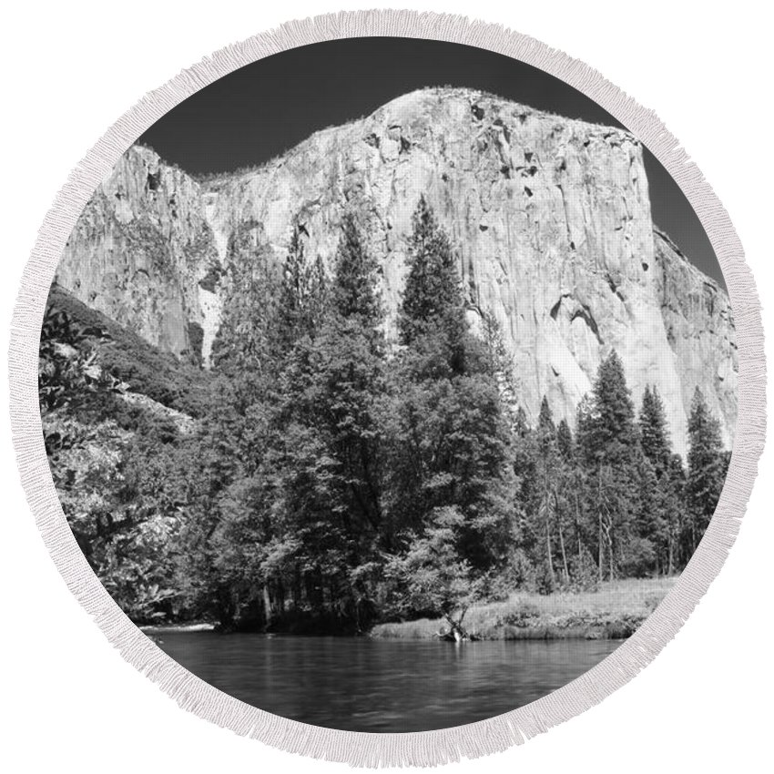 Black&white Round Beach Towel featuring the photograph El Capitan And Merced River by Sandra Bronstein