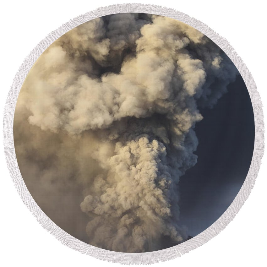 Volcanic Round Beach Towel featuring the photograph Eruption Of Ash Cloud From Mount Bromo by Richard Roscoe