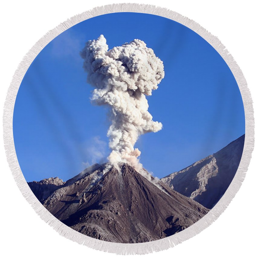 Nature Round Beach Towel featuring the photograph Eruption Of Ash Cloud From Santiaguito by Richard Roscoe