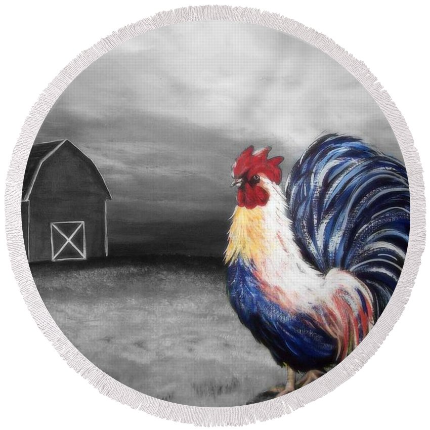 Rooster Round Beach Towel featuring the painting Evening Strut by Katie Slaby