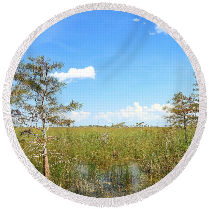 Everglades Round Beach Towel featuring the photograph Everglades Landscape by Rudy Umans
