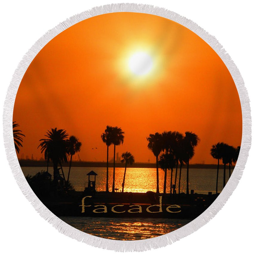 Sunset Round Beach Towel featuring the digital art Facade by Lizi Beard-Ward