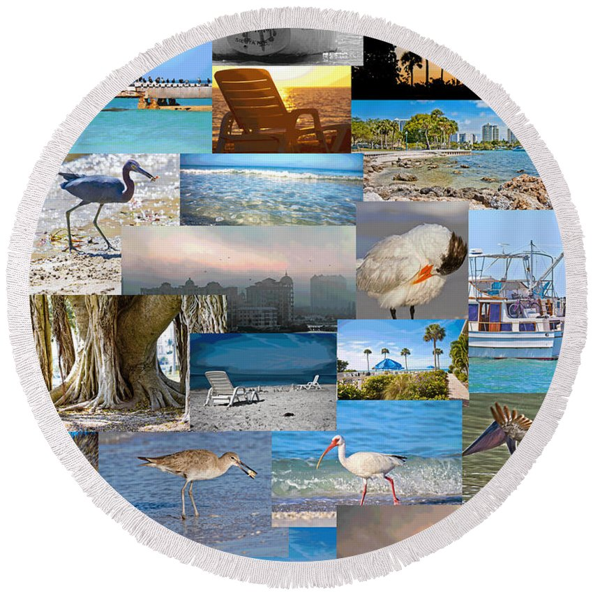 Florida Round Beach Towel featuring the photograph Florida Collage by Betsy Knapp