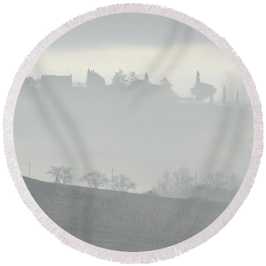 Fog Round Beach Towel featuring the photograph Foggy Day by Mats Silvan