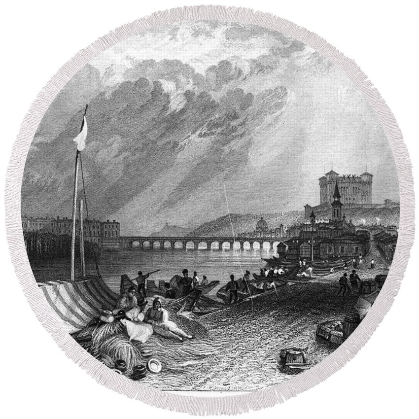 1835 Round Beach Towel featuring the photograph France: Saumur by Granger