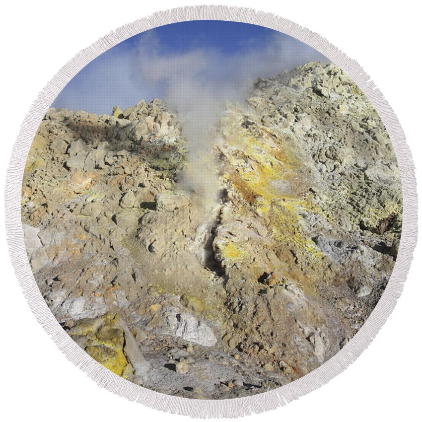 Lithology Round Beach Towel featuring the photograph Fumaroles With Sulphur Deposits. Flank by Richard Roscoe