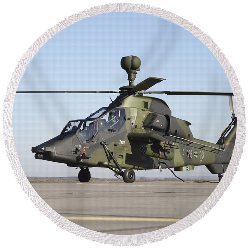 Germany Round Beach Towel featuring the photograph German Tiger Eurocopter At Fritzlar by Timm Ziegenthaler