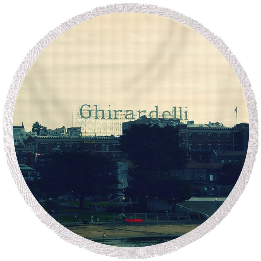 Ghirardelli Square Round Beach Towel featuring the photograph Ghirardelli Square by Linda Woods