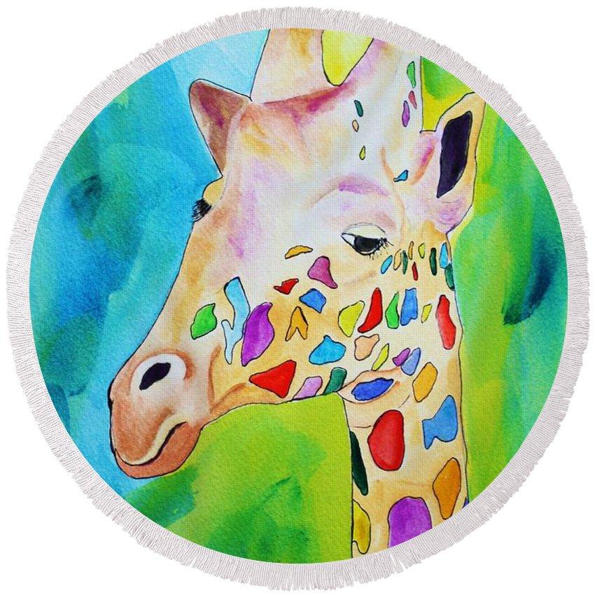 Giraffe Round Beach Towel featuring the painting Giraffe Portrait by Melinda Etzold