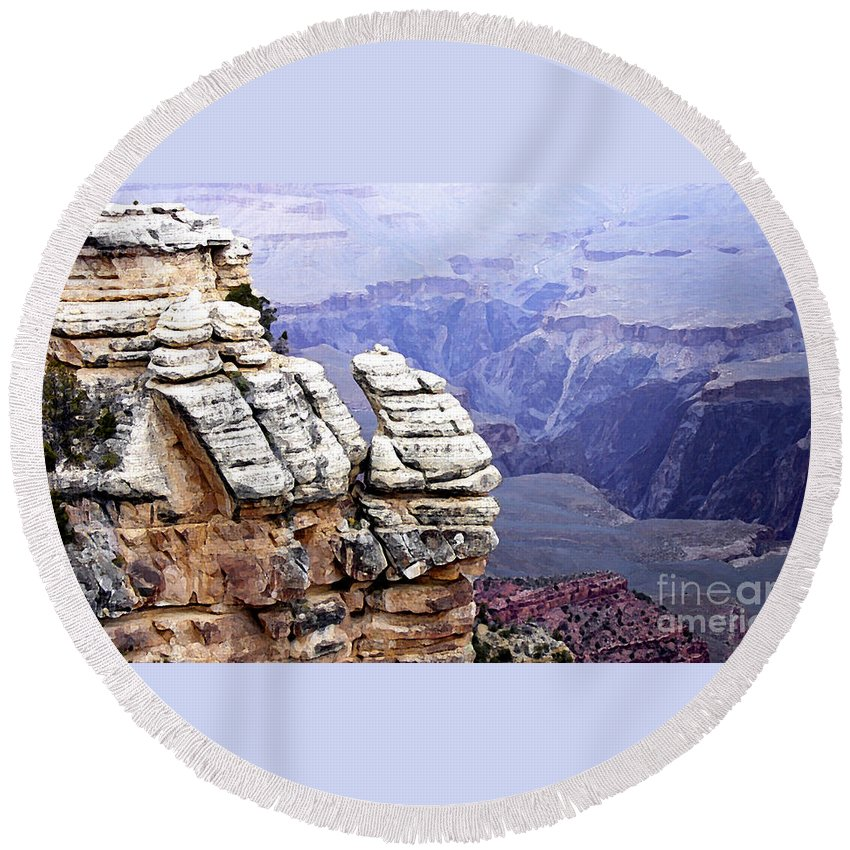 For Contest Entry Round Beach Towel featuring the photograph Grand Canyon 3 by Mike Nellums