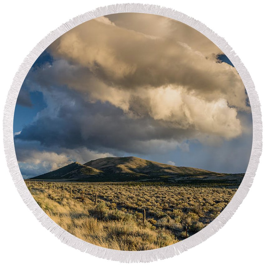 Great Basin Round Beach Towel featuring the photograph Great Basin Cloud by Greg Nyquist