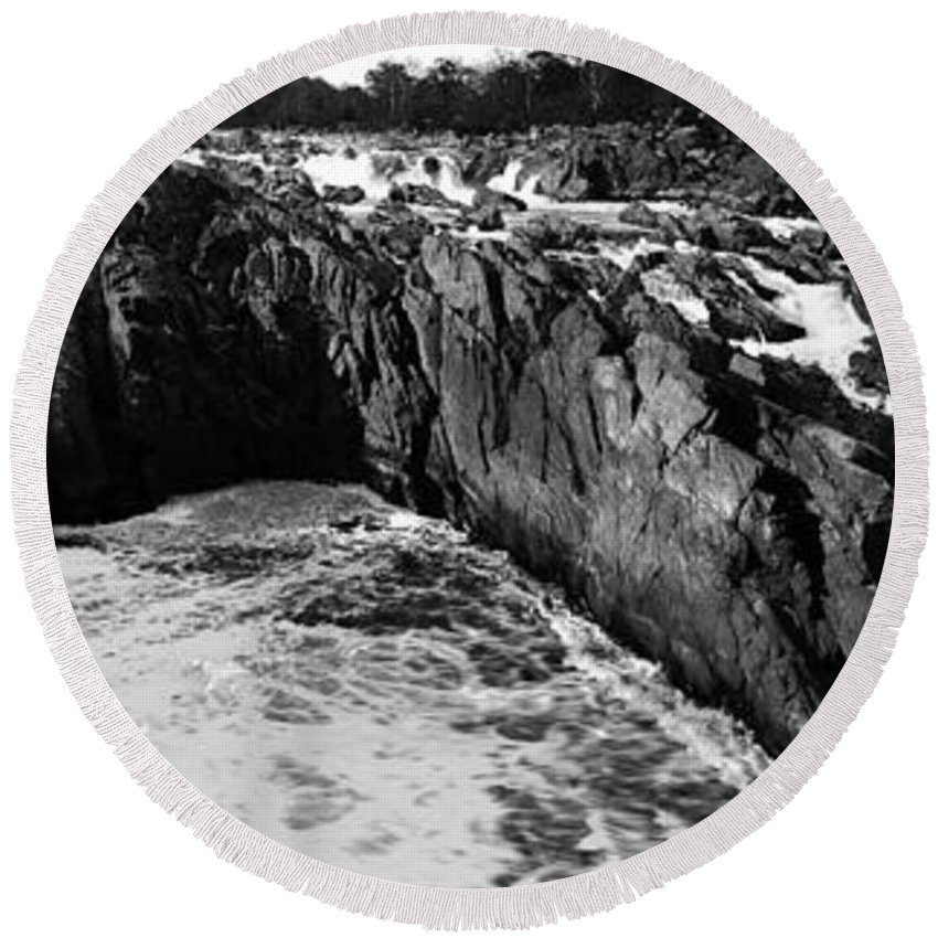 Great Falls Round Beach Towel featuring the photograph Great Falls Virginia Bw by Mike Nellums