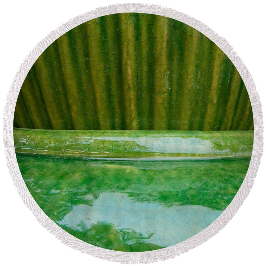 Abstract Round Beach Towel featuring the photograph Green Pottery by Sean Wray