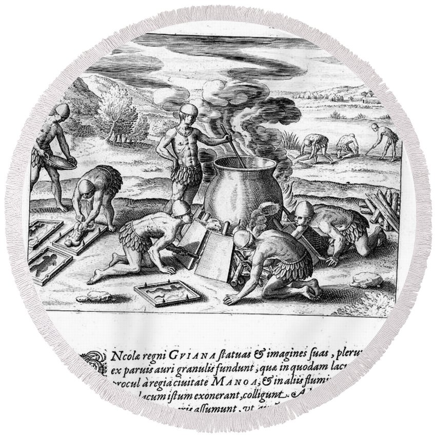 1599 Round Beach Towel featuring the photograph Guiana: Gold Casting, 1599 by Granger