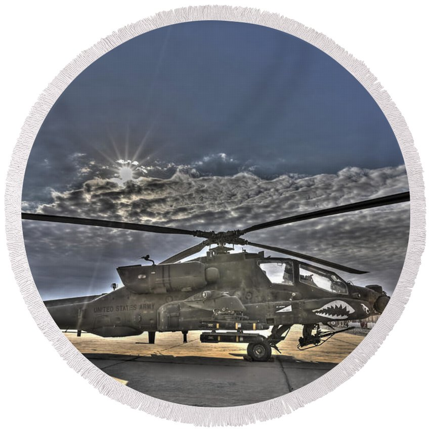 Apache Round Beach Towel featuring the photograph High Dynamic Range Photo Of An Ah-64d by Terry Moore