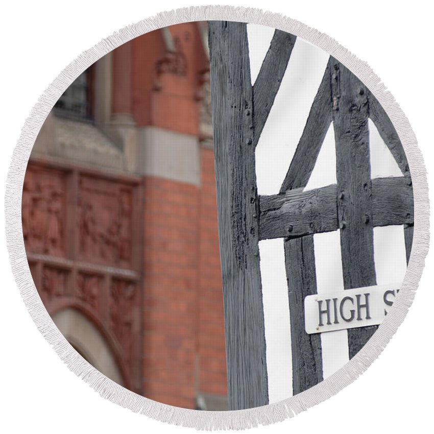 British Round Beach Towel featuring the photograph High Street by Andrew Michael
