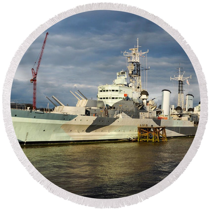 British Round Beach Towel featuring the photograph Hms Belfast by Andrew Michael