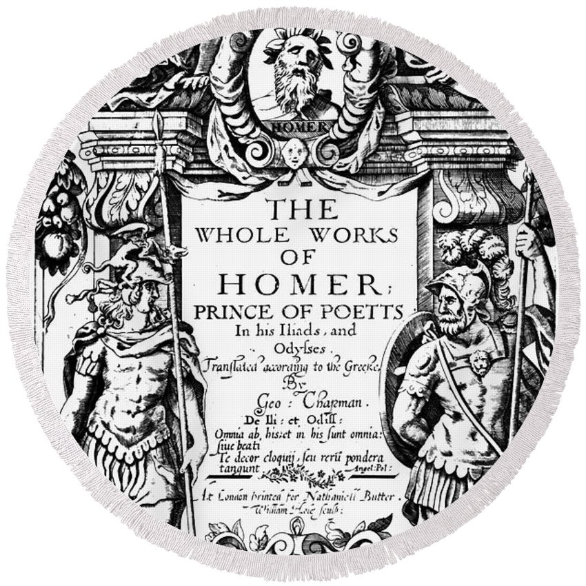 1616 Round Beach Towel featuring the photograph Homer Title Page, 1616 by Granger