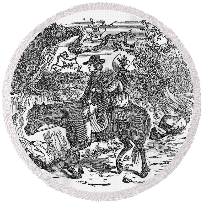 19th Century Round Beach Towel featuring the photograph Horseback Riding by Granger