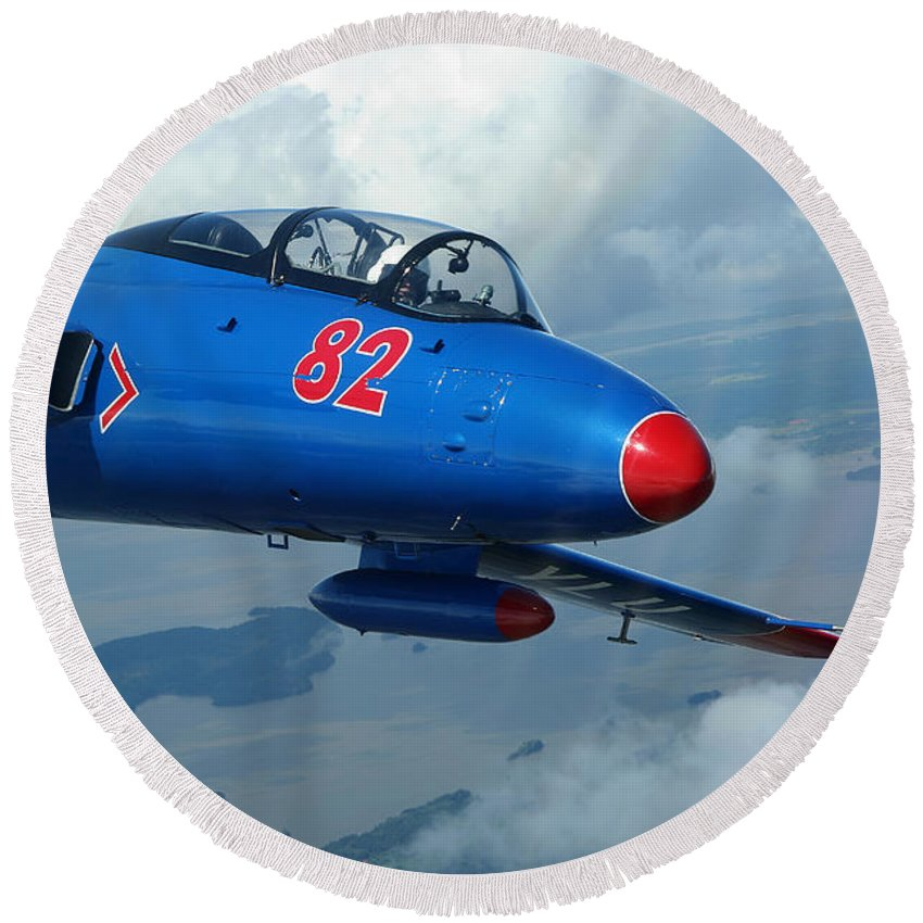 Transportation Round Beach Towel featuring the photograph L-29 Delfin Standard Jet Trainer by Daniel Karlsson