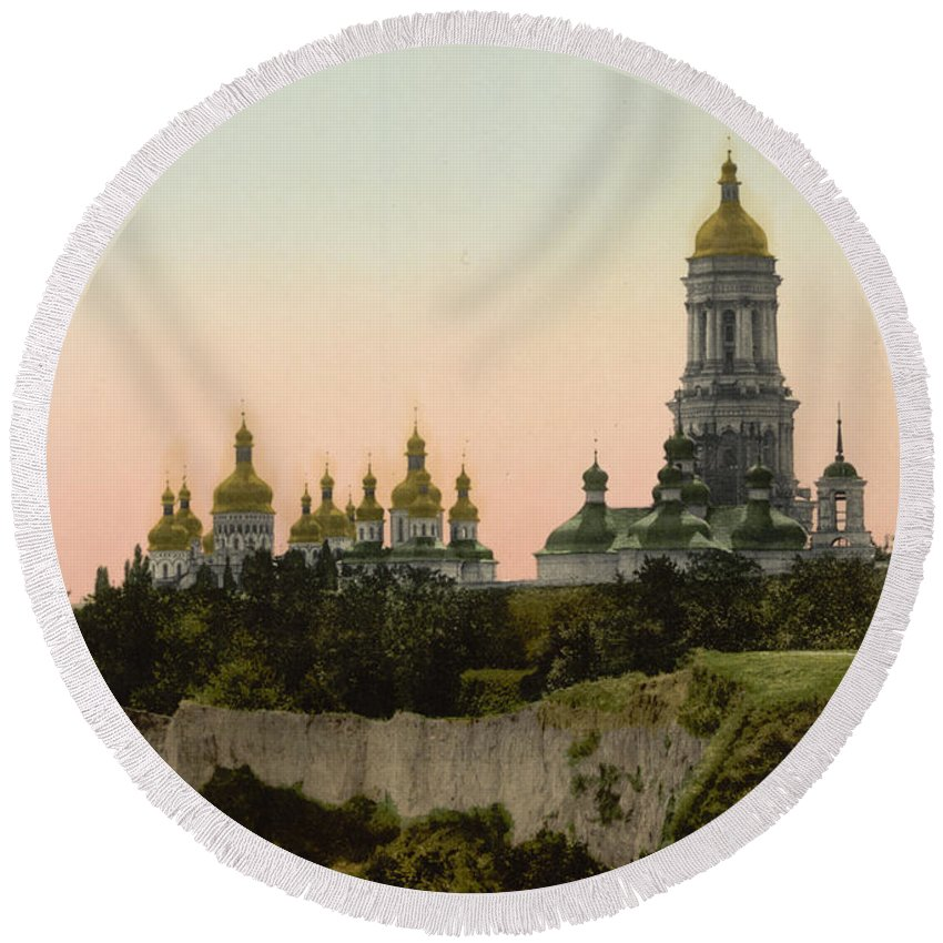 Lavra Round Beach Towel featuring the photograph La Lavra - Kiev - Ukraine - Ca 1900 by International Images