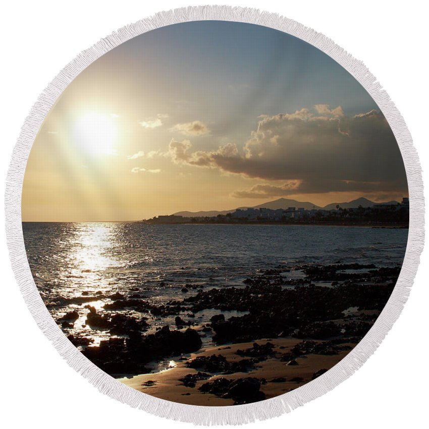 Lehtokukka Round Beach Towel featuring the photograph Lanzarote by Jouko Lehto