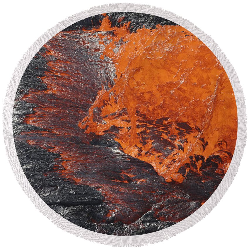 Nature Round Beach Towel featuring the photograph Lava Bursting At Edge Of Active Lava by Richard Roscoe