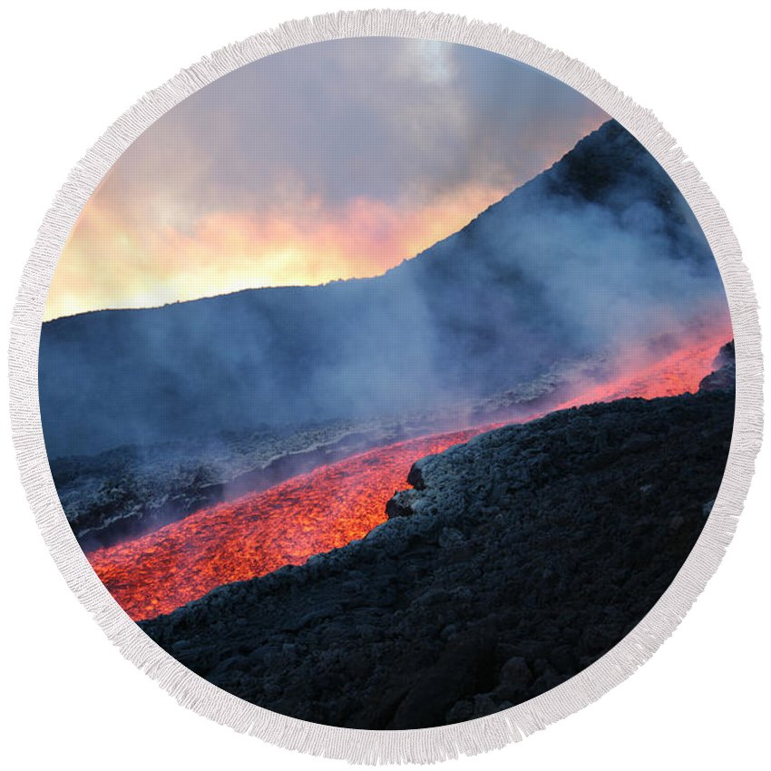 Ravine Round Beach Towel featuring the photograph Lava Flowing From Base Of Hornito by Richard Roscoe