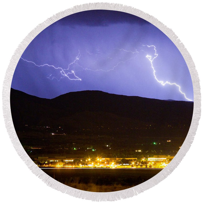 decorative Canvas Prints Round Beach Towel featuring the photograph Lightning Striking Over Ibm Boulder Co 2 by James BO Insogna