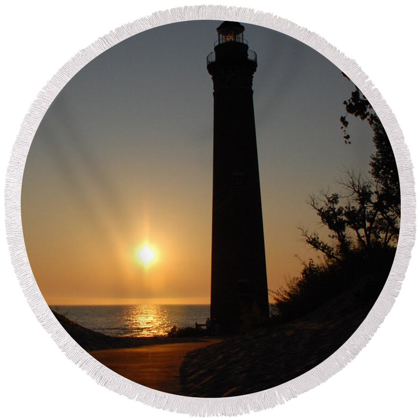 Lighthouse Round Beach Towel featuring the photograph Little Sable Point Lighthouse by Grace Grogan