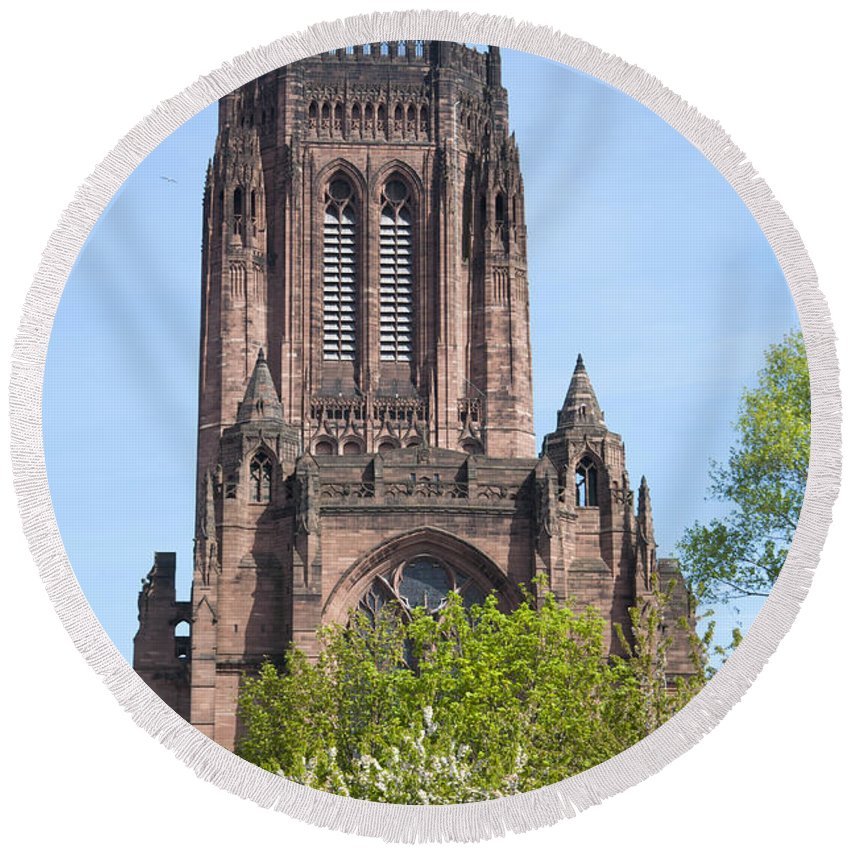 2011 Round Beach Towel featuring the photograph Liverpool Anglican Cathedral by Andrew Michael