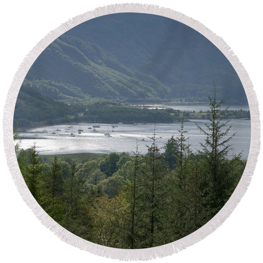 Britain Round Beach Towel featuring the photograph Loch Leven by Andrew Michael