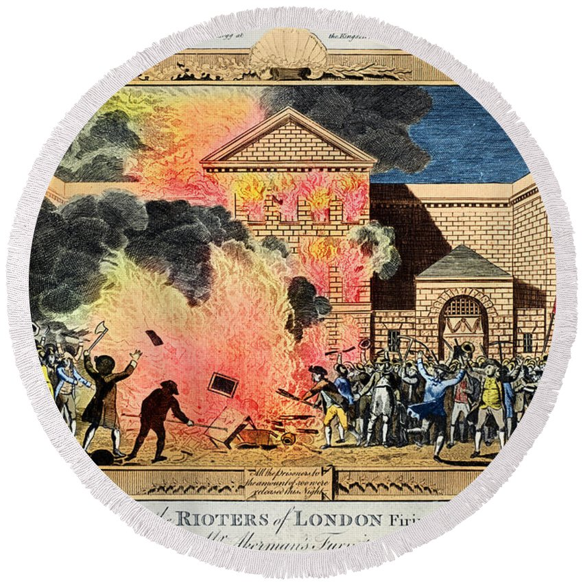 1780 Round Beach Towel featuring the photograph London: Gordon Riots, 1780 by Granger